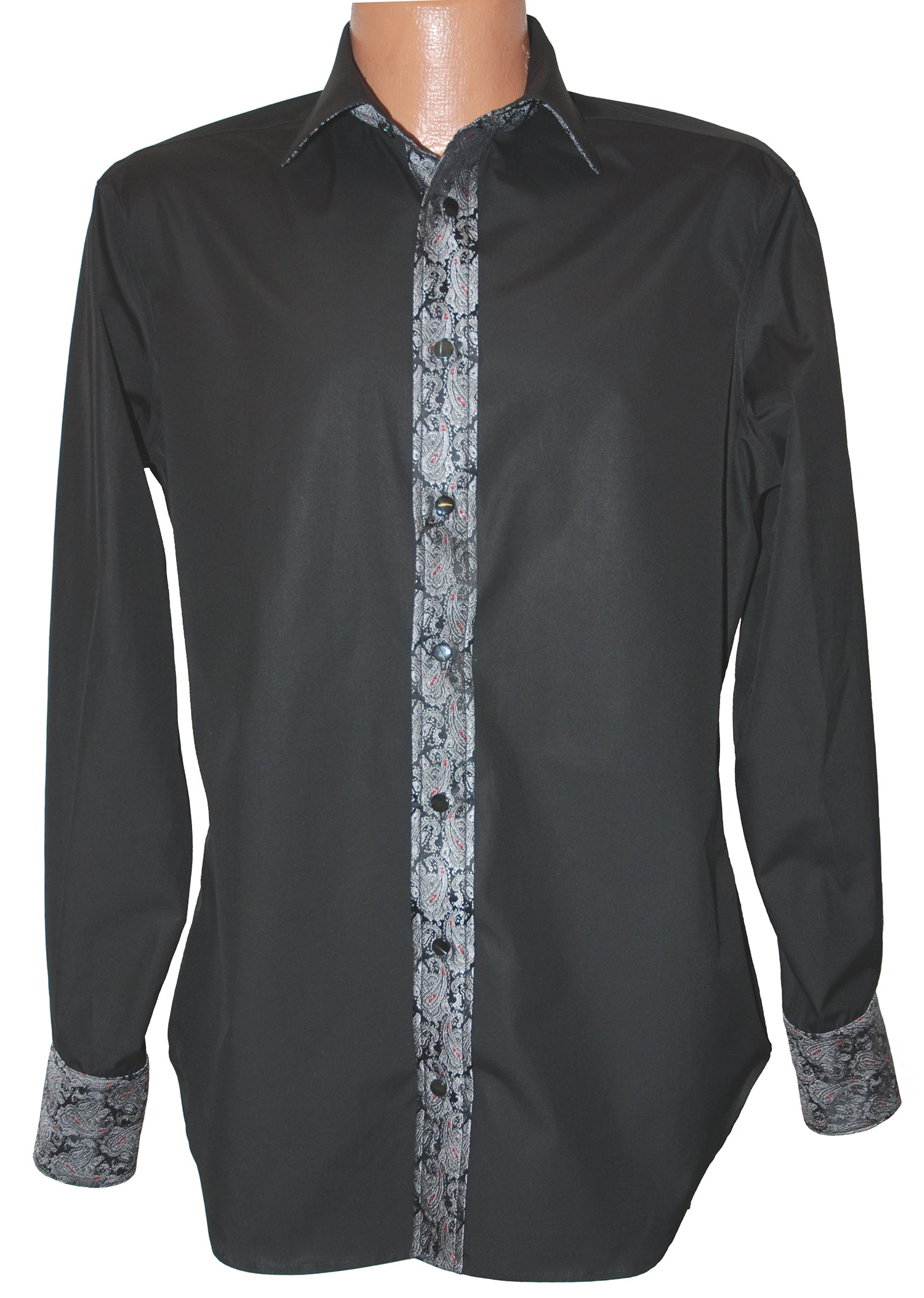 Black Cotton Shirt with Silk Paisley Trim