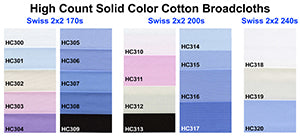 Swiss High Count Cotton Broadcloths