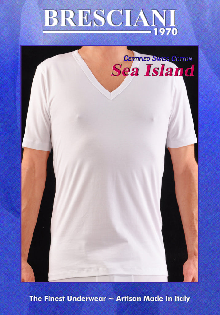 Bresciani Pure Sea Island Cotton V-Neck Undershirt