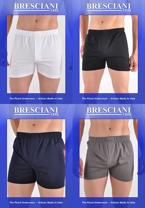 Bresciani Supremo Reale Covered Waistband Open Fly 2-Ply Egyptian Cotton Boxer