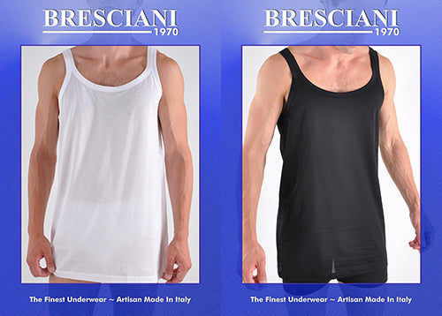 Bresciani Supremo Reale Narrow Strap 2-Ply Egyptian Cotton Tank Shirt