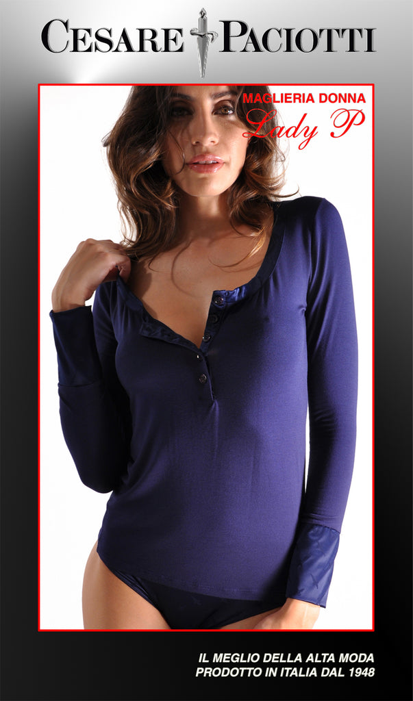 Lady P Long Sleeve 5-Button Couture Scoop Neck Top