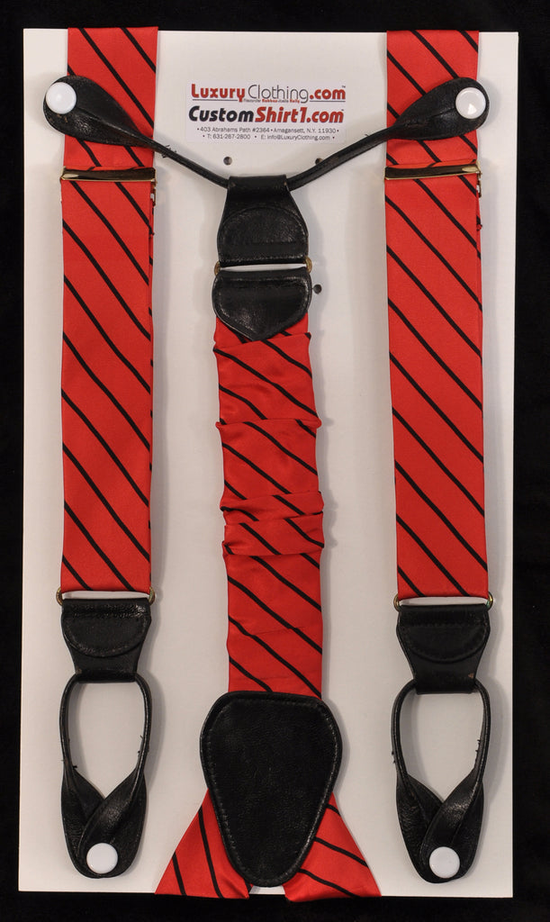 SAMPLE-Only One Available: Kabbaz-Kelly Handmade Braces - Red with Black Stripe & Black Leather