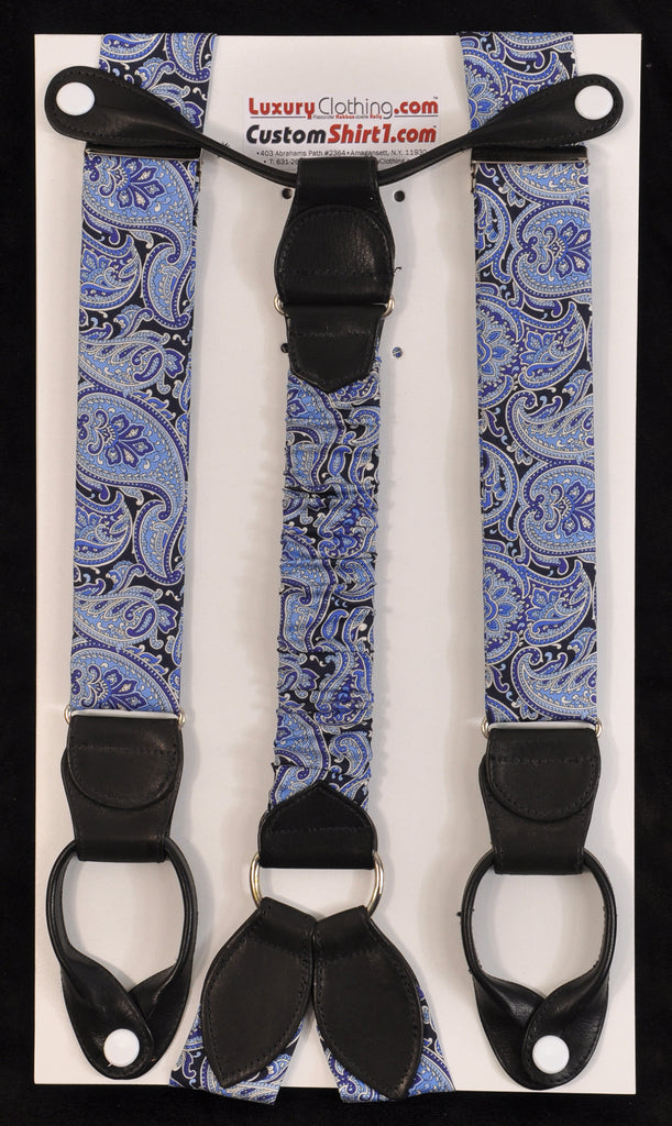 SAMPLE-Only One Available: Kabbaz-Kelly Handmade Braces - Navy with Blue & Silver Paisley & Black Leather