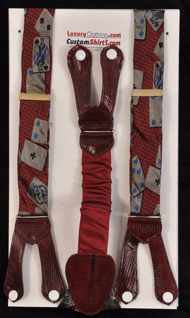 SAMPLE-Only One Available: Kabbaz-Kelly Handmade Braces - Burgundy Deck of Cards & Burgundy Lizardskin
