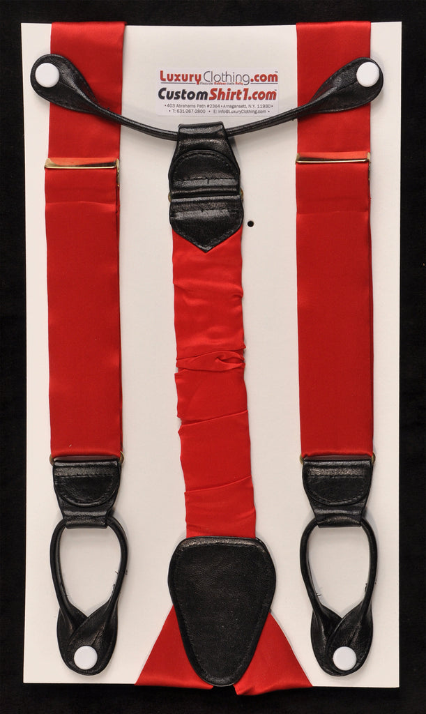SAMPLE-Only One Available: Kabbaz-Kelly Handmade Braces - Red Silk Satin & Black Leather