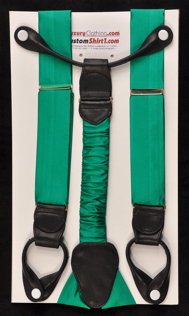 SAMPLE-Only One Available: Kabbaz-Kelly Handmade Braces - Green Silk Crepe de Chine & Black Leather