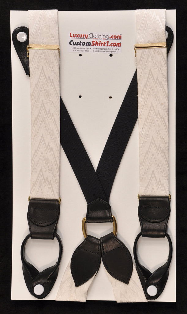 SAMPLE-Only One Available: Kabbaz-Kelly Handmade Braces - White Tone-on-Tone Flamestitch & Black Leather