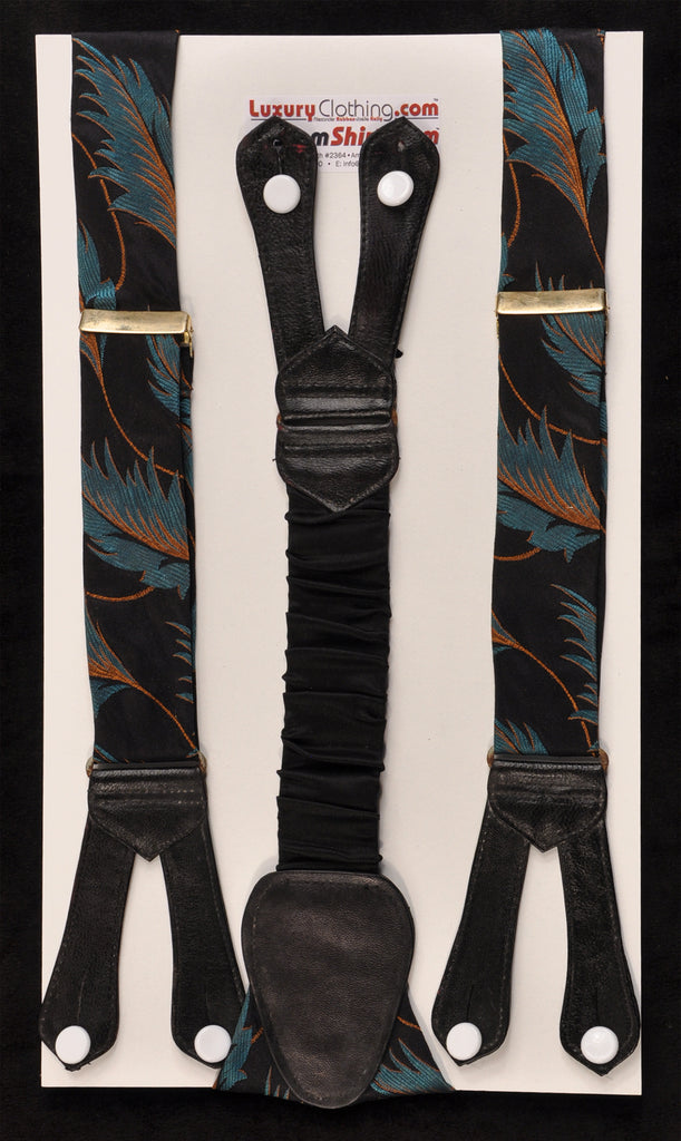 SAMPLE-Only One Available: Kabbaz-Kelly Handmade Braces - Teal Leaf Design & Black Leather