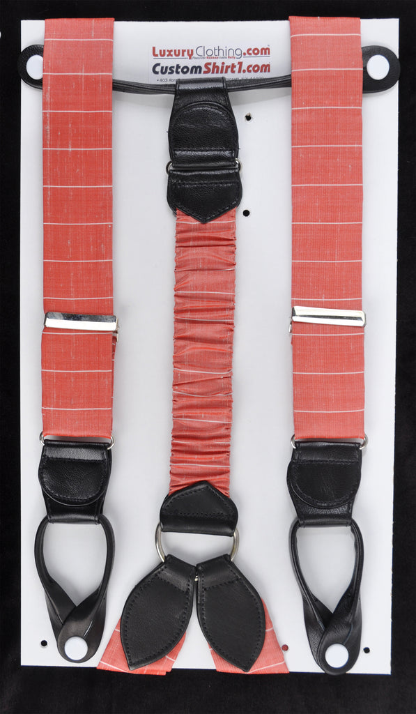 SAMPLE-Only One Available: Kabbaz-Kelly Handmade Braces - Red and White Stripe & Black Leather