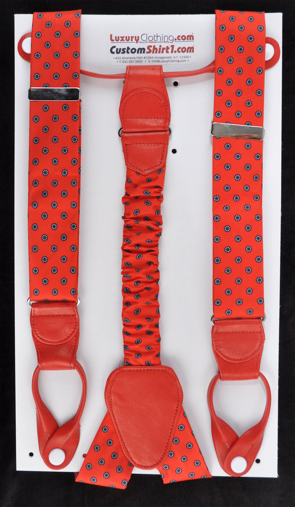 SAMPLE-Only One Available: Kabbaz-Kelly Handmade Braces - Red Patterned Silk & Red Lambskin