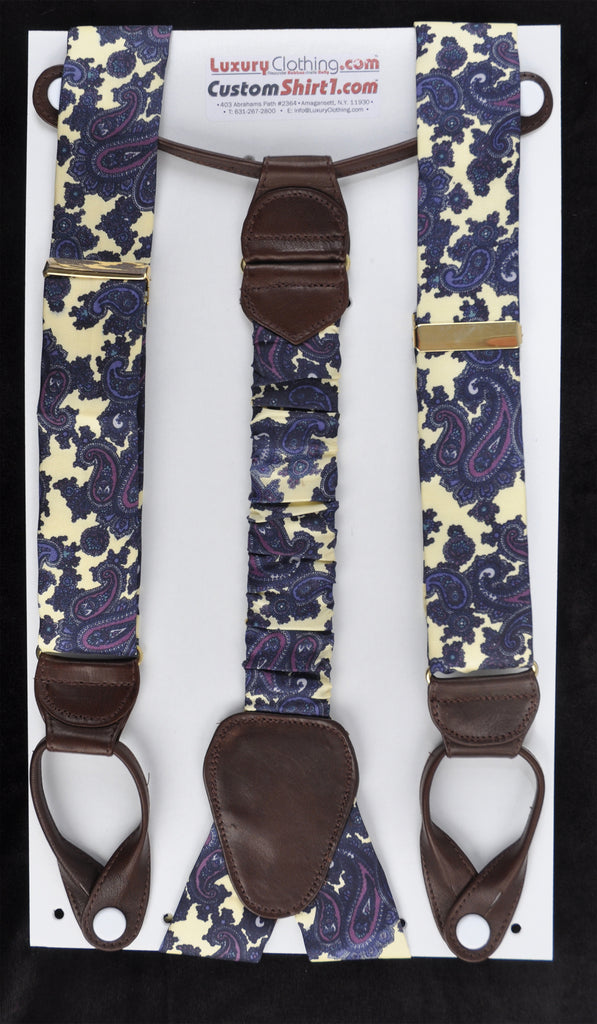 SAMPLE-Only One Available: Kabbaz-Kelly Handmade Braces - Light Yellow Paisley & Brown Leather