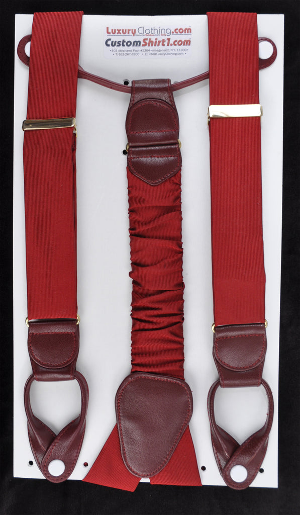 SAMPLE-Only One Available: Kabbaz-Kelly Handmade Braces - Burgundy Silk Faiille & Burgundy Leather