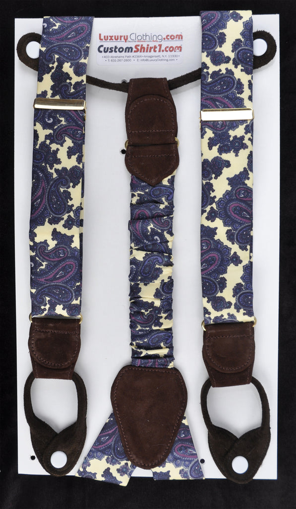 SAMPLE-Only One Available: Kabbaz-Kelly Handmade Braces - Light Yellow Paisley & Brown Suede