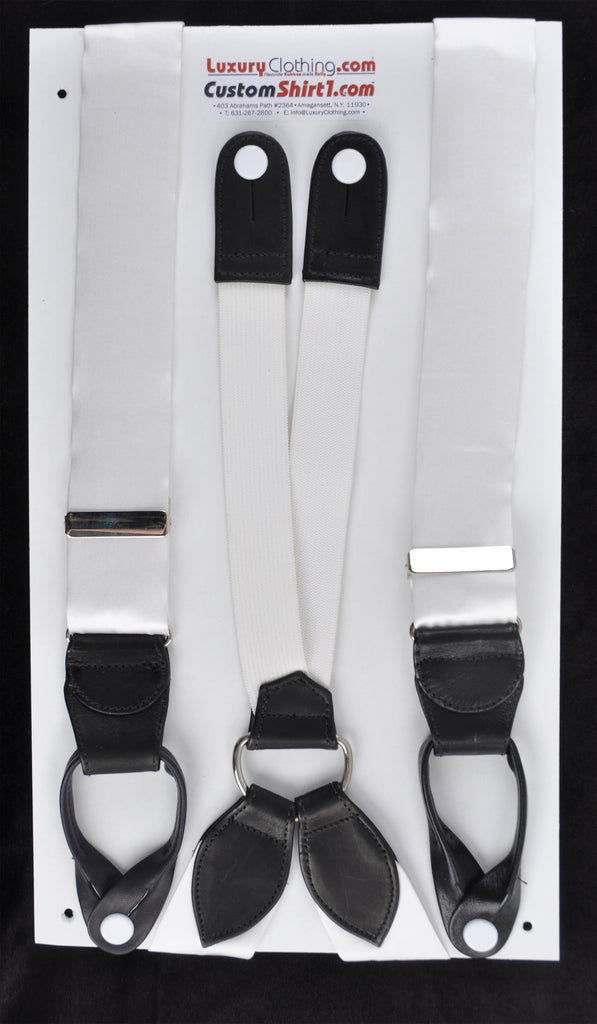 SAMPLE-Only One Available: Kabbaz-Kelly Handmade Braces - White Silk Satin & Black Leather