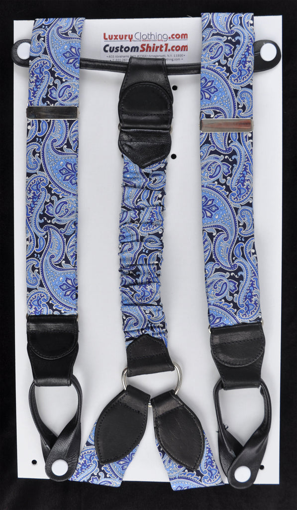 SAMPLE-Only One Available: Kabbaz-Kelly Handmade Braces - Blue Paisley & Black Leather