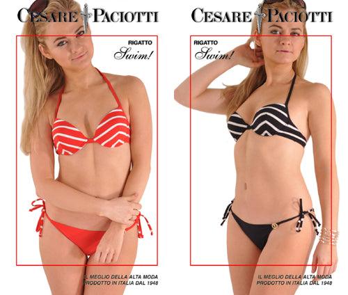Cesare Paciotti's Sexy Chevron Stripes Pushup String Swim Bikini