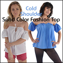 Copy of Kabbaz-Kelly Short Sleeve Solid Color Cotton Cold Shoulder Top