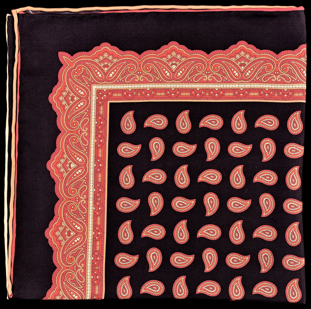 Pure Italian Silk Hand Rolled Pocket Square - Black/Wine Paisley