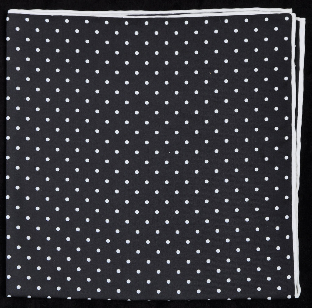 Pure Italian Silk Hand Rolled Pocket Square - Black/White Dots