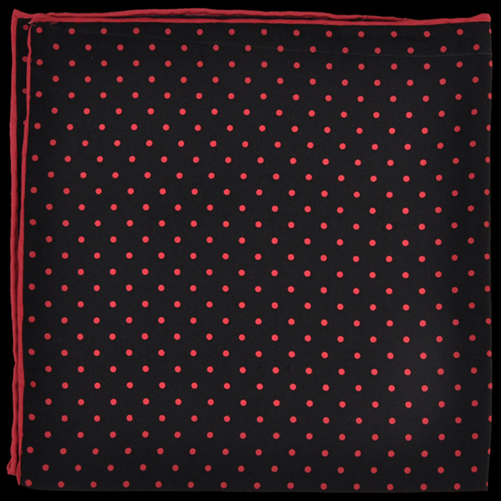 Pure Italian Silk Hand Rolled Pocket Square - Black/Pink Dots