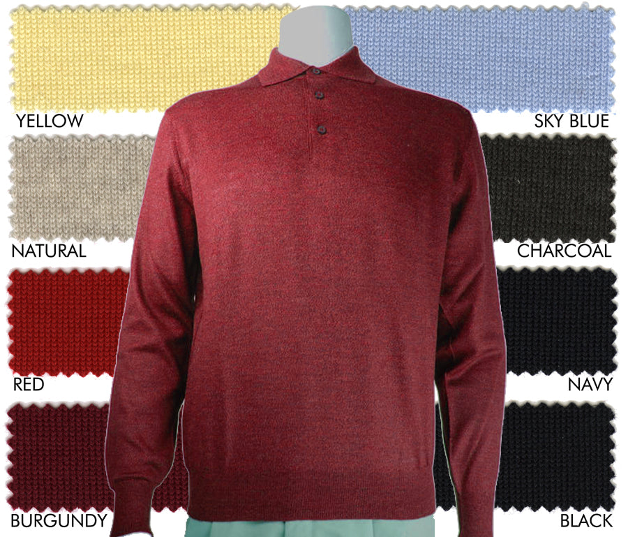 Italian ExtraFine Merino Wool Long-Sleeve Polo Sweater
