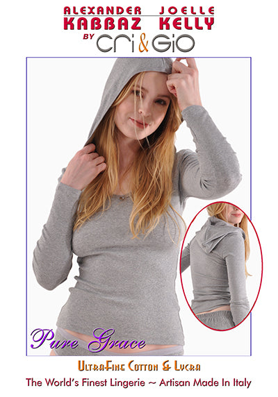 A Kabbaz-Kelly Design: Pure Grace Italian Mini-Rib Cotton Long Sleeve Hoodie