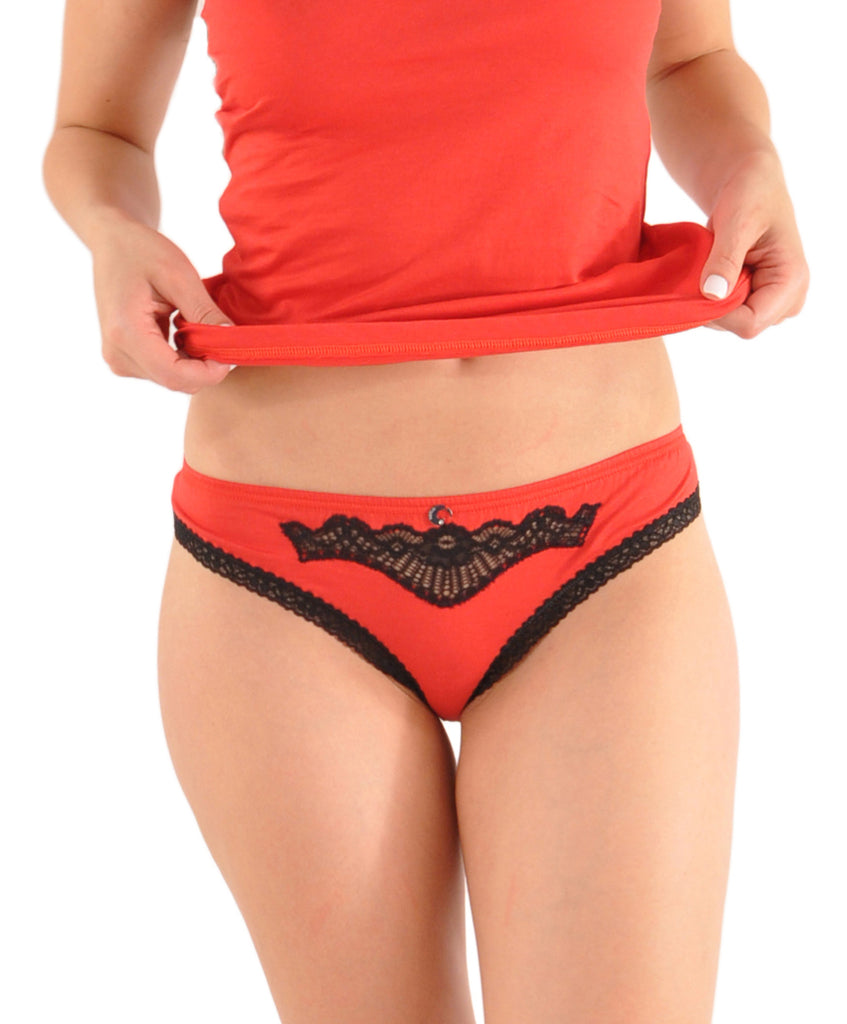 A Kabbaz-Kelly Design: Italian Silk & Cotton Bikini Panty with Calais Lace