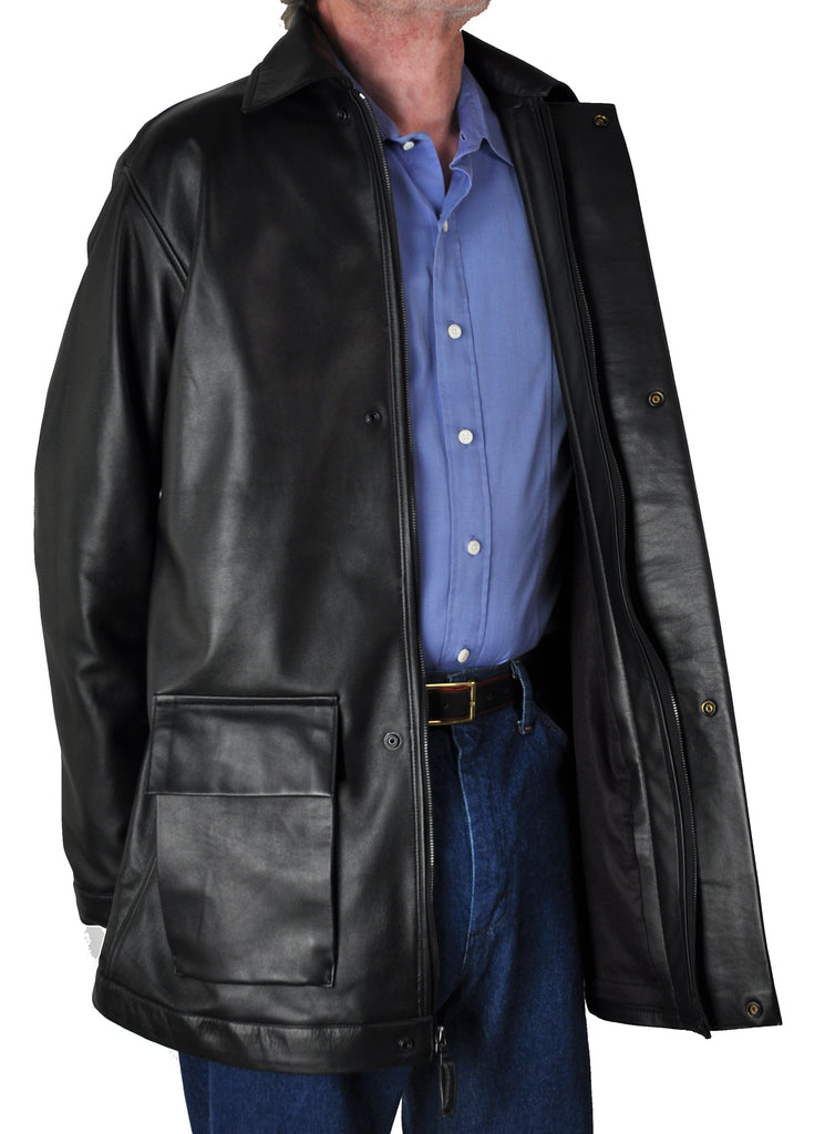 <em>Odin</em> Thigh-Length Lambskin Car Coat with Faux Rear Belt