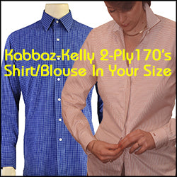 Kabbaz-Kelly 2x2 170's Custom Made Shirt or Blouse In Your Normal Size