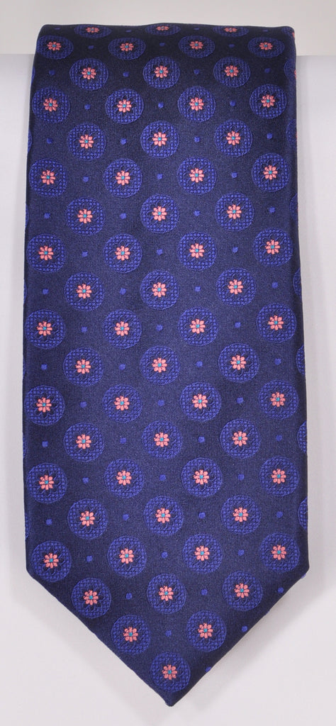 Classic Kabbaz-Kelly Exclusive Limited Edition: Pink Medallion Handmade Italian Silk Necktie