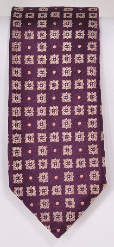 Classic Kabbaz-Kelly Exclusive Limited Edition: Wine Medallion Handmade Italian Silk Necktie