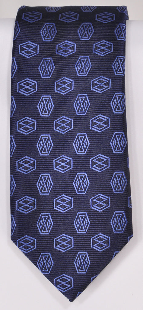 Classic Kabbaz-Kelly Exclusive Limited Edition: Blue Medallion Handmade Italian Silk Necktie
