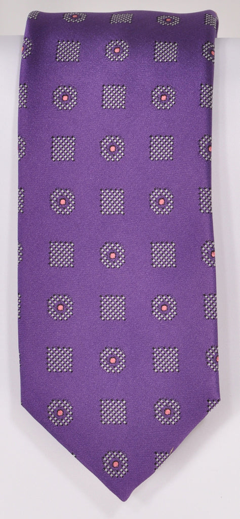 Classic Kabbaz-Kelly Exclusive Limited Edition: Purple Medallion Handmade Italian Silk Necktie