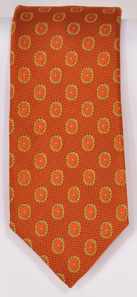Classic Kabbaz-Kelly Exclusive Limited Edition: Orange Medallion Handmade Italian Silk Necktie