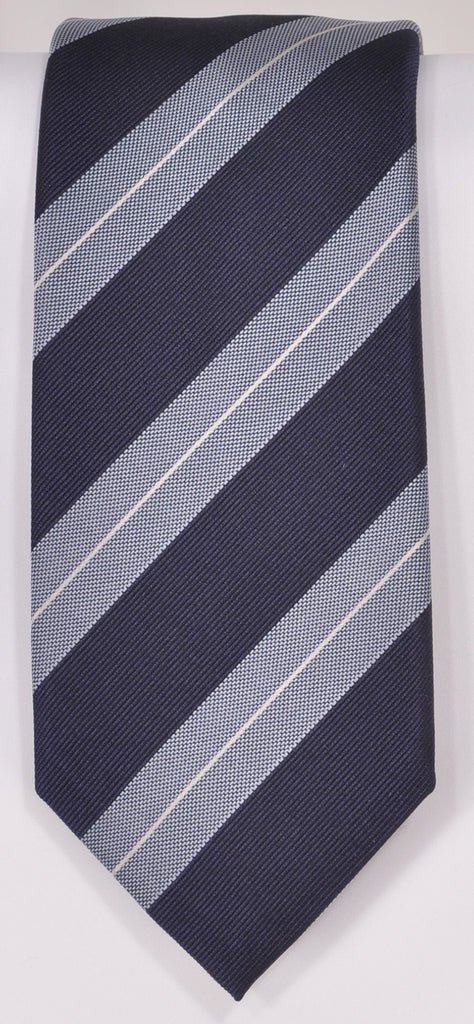 Classic Kabbaz-Kelly Exclusive Limited Edition: Silver Stripe Handmade Italian Silk Necktie