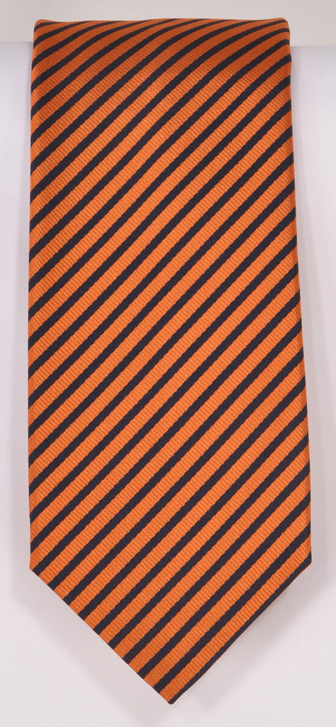 Classic Kabbaz-Kelly Exclusive Limited Edition: Orange Stripe Handmade Italian Silk Necktie