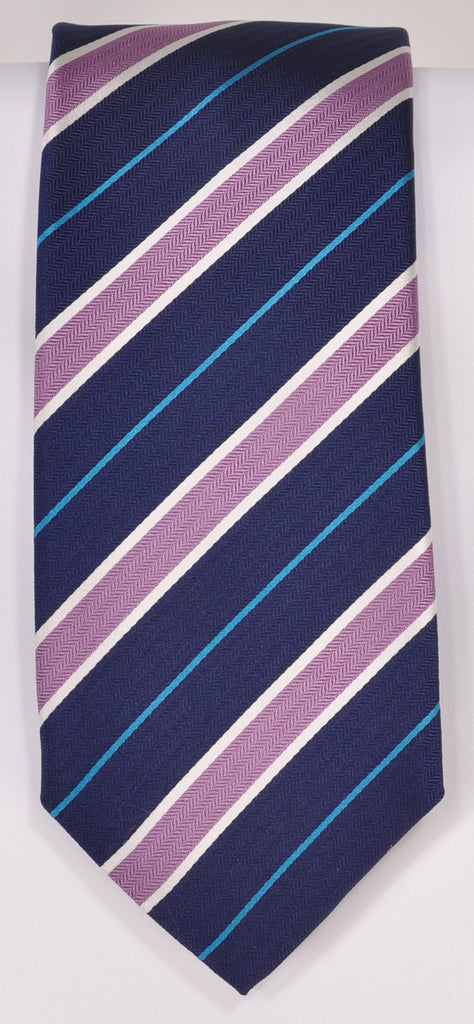 Classic Kabbaz-Kelly Exclusive Limited Edition: Purple Stripe Handmade Italian Silk Necktie