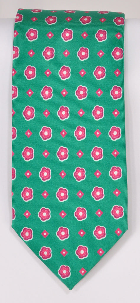 Classic Kabbaz-Kelly Exclusive Limited Edition: Green Print Handmade Italian Silk Necktie