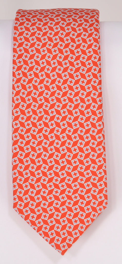 Classic Kabbaz-Kelly Exclusive Limited Edition: Red Print Handmade Italian Silk Necktie