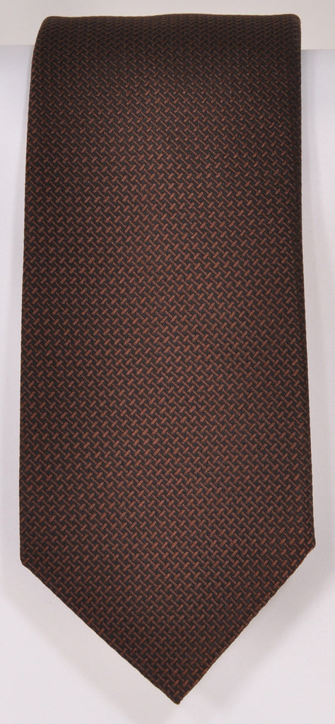 Classic Kabbaz-Kelly Exclusive Limited Edition: Brown Solid Handmade Italian Silk Necktie