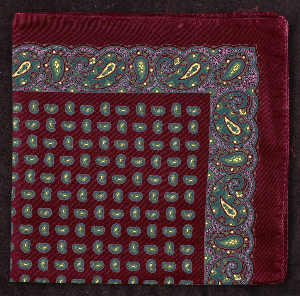 Antique Macclesfield English Silk Pocket Square - Wine Paisley