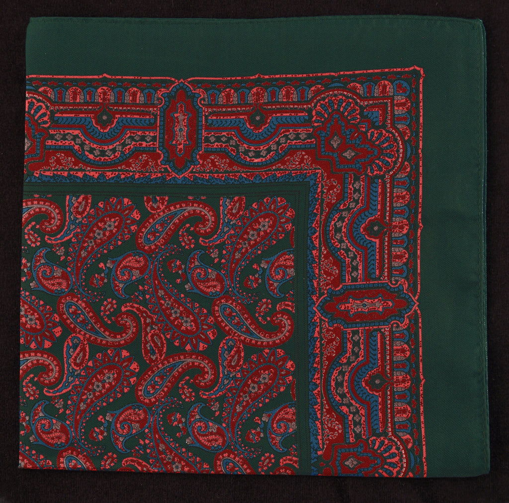 Antique Macclesfield English Silk Pocket Square - Green Paisley