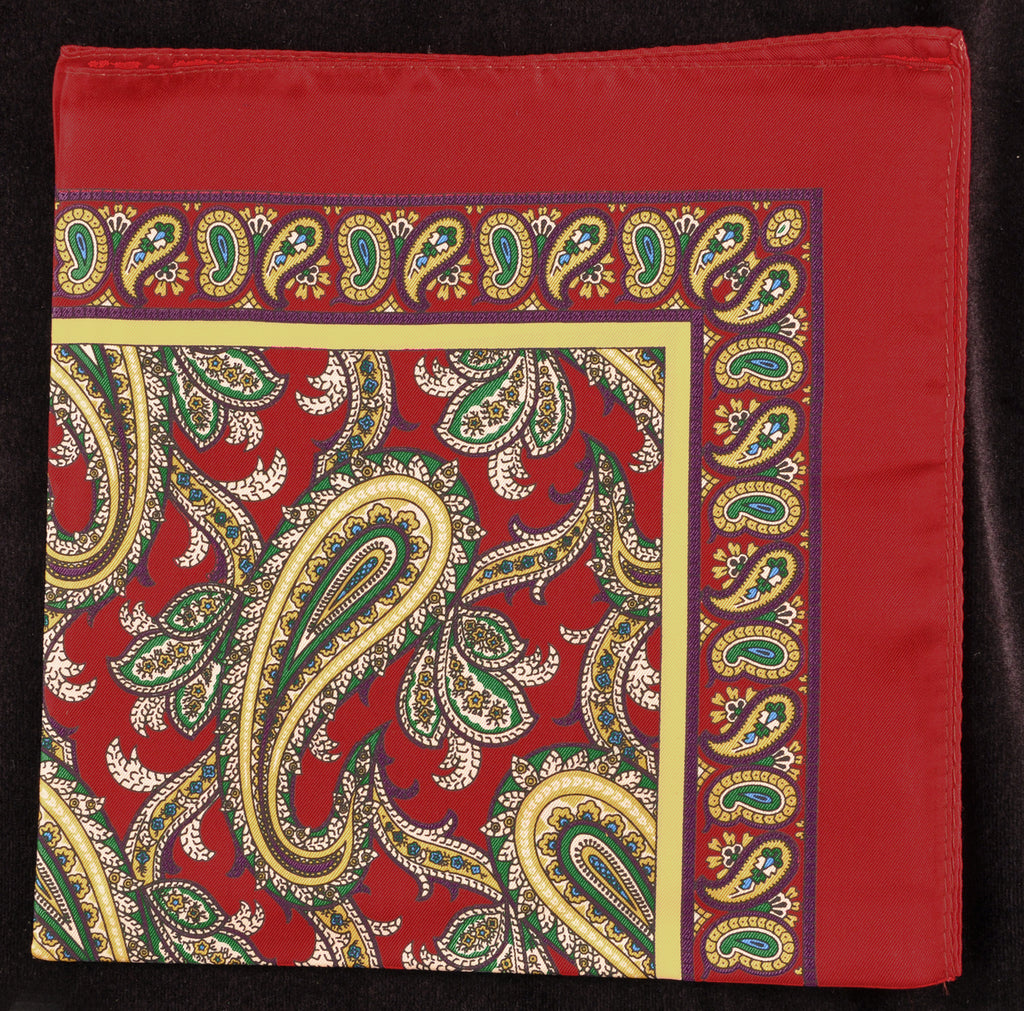 Antique Macclesfield English Silk Pocket Square - Red Paisley