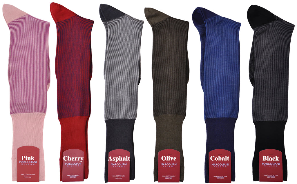 Savile Row Vertical MicroStripe Over-the-Calf Cotton Sock