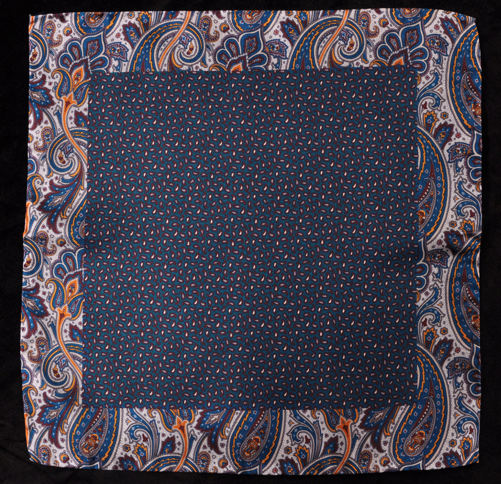 A.Kabbaz-J.Kelly Hand Rolled Italian Silk Pocket Square - Blue Paisley 103