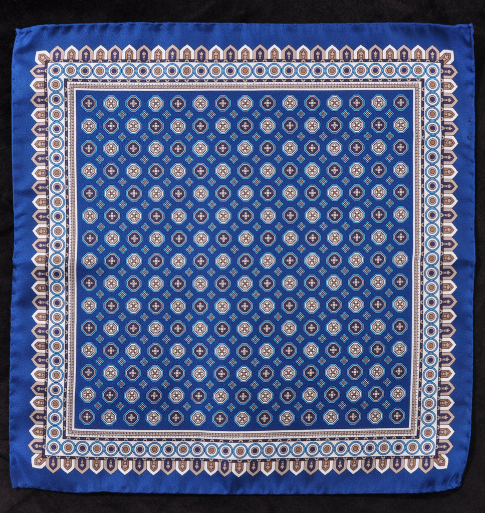 A.Kabbaz-J.Kelly Hand Rolled Italian Silk Pocket Square - Royal Blue 108