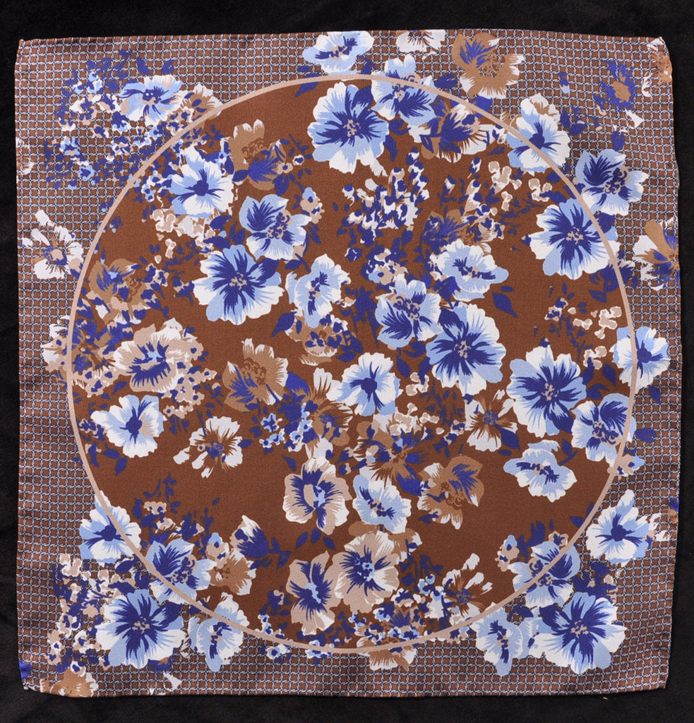 A.Kabbaz-J.Kelly Hand Rolled Italian Silk Pocket Square - Brown Floral 112
