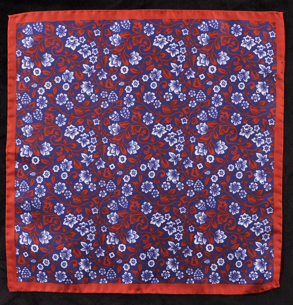 A.Kabbaz-J.Kelly Hand Rolled Italian Silk Pocket Square - Red-Blue Floral 113