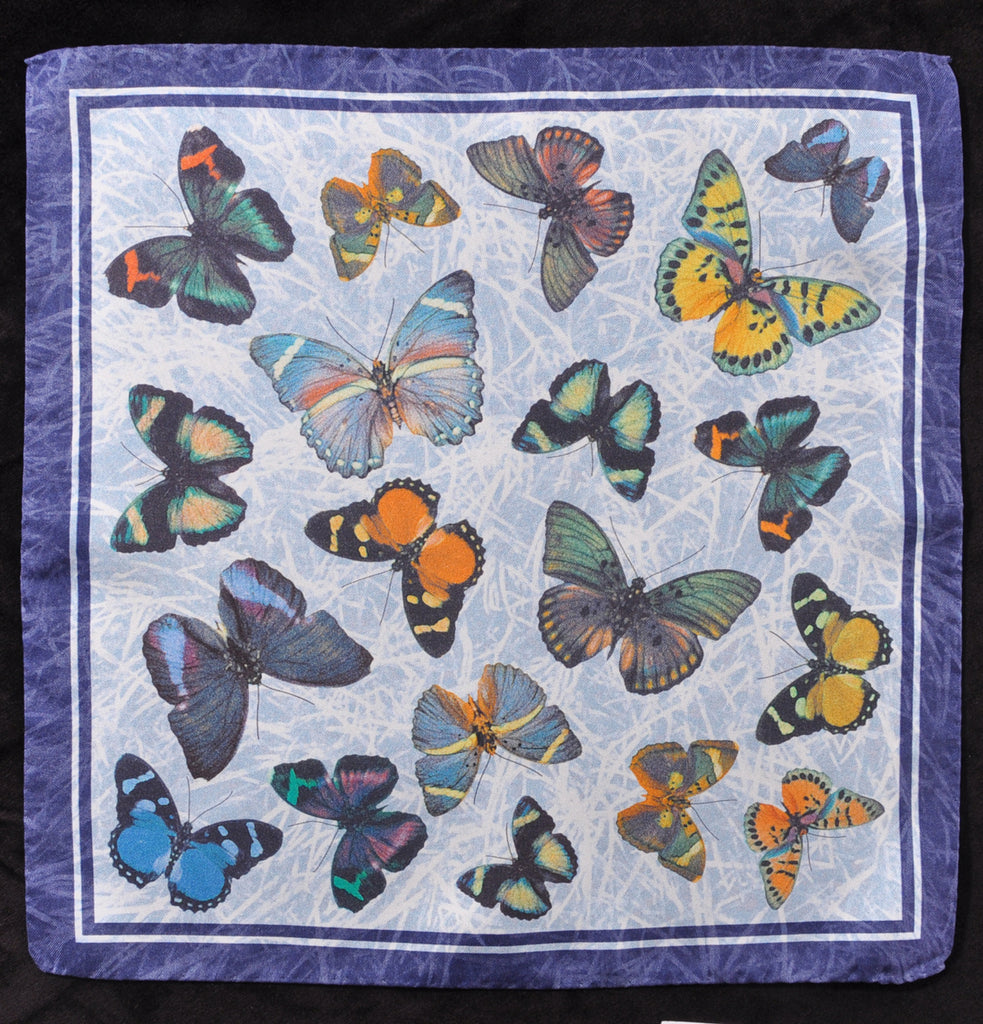 A.Kabbaz-J.Kelly Hand Rolled Italian Silk Pocket Square - Butterflies on Blue 114